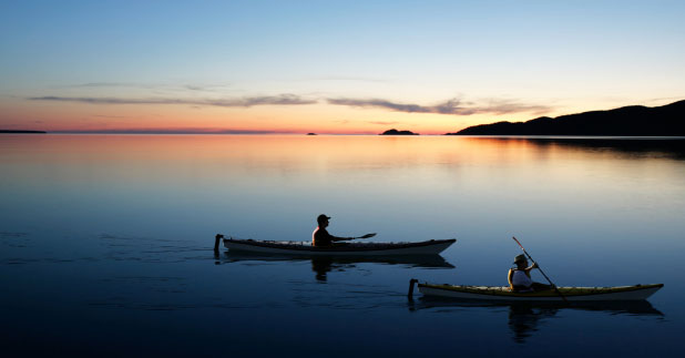 Two Kayakers at Sunset in Gray's Harbor