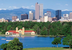 Denver, Colorado with Boathouse and Mountains
