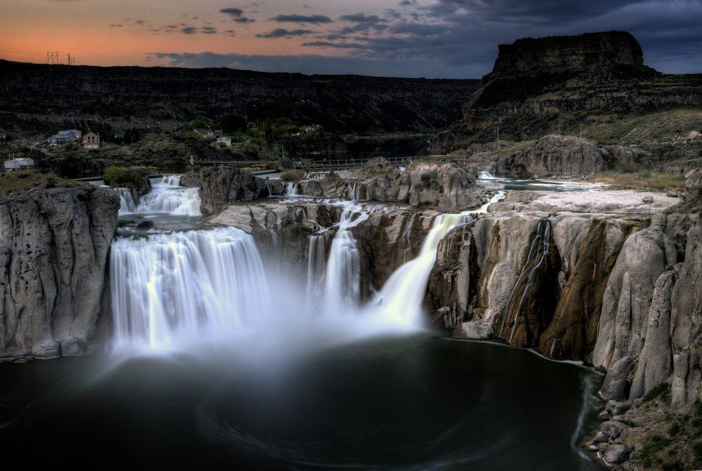 Shoshone Falls Twin Falls Idaho blurred water at sunset