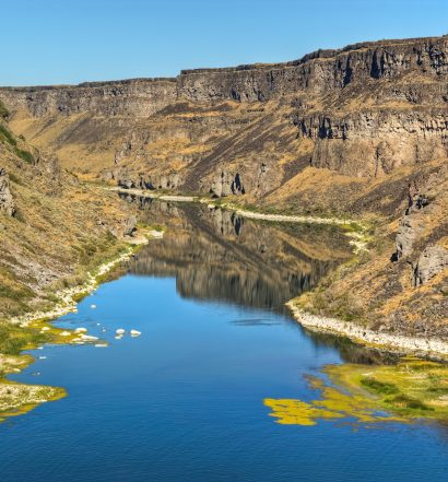 The Snake River has carved a deep canyon in Twin Falls Idaho.