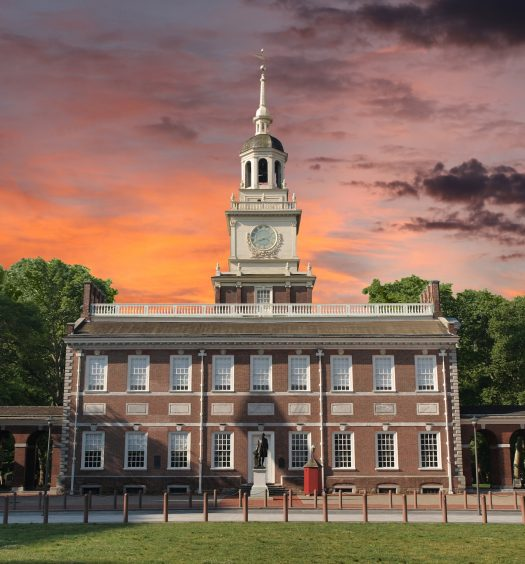 Independence Hall National Historic Park Philadelphia Pennsylvania with sunset sky.