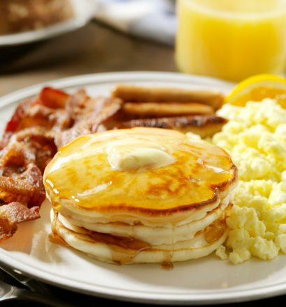 Breakfast with Pancakes, Eggs and Bacon