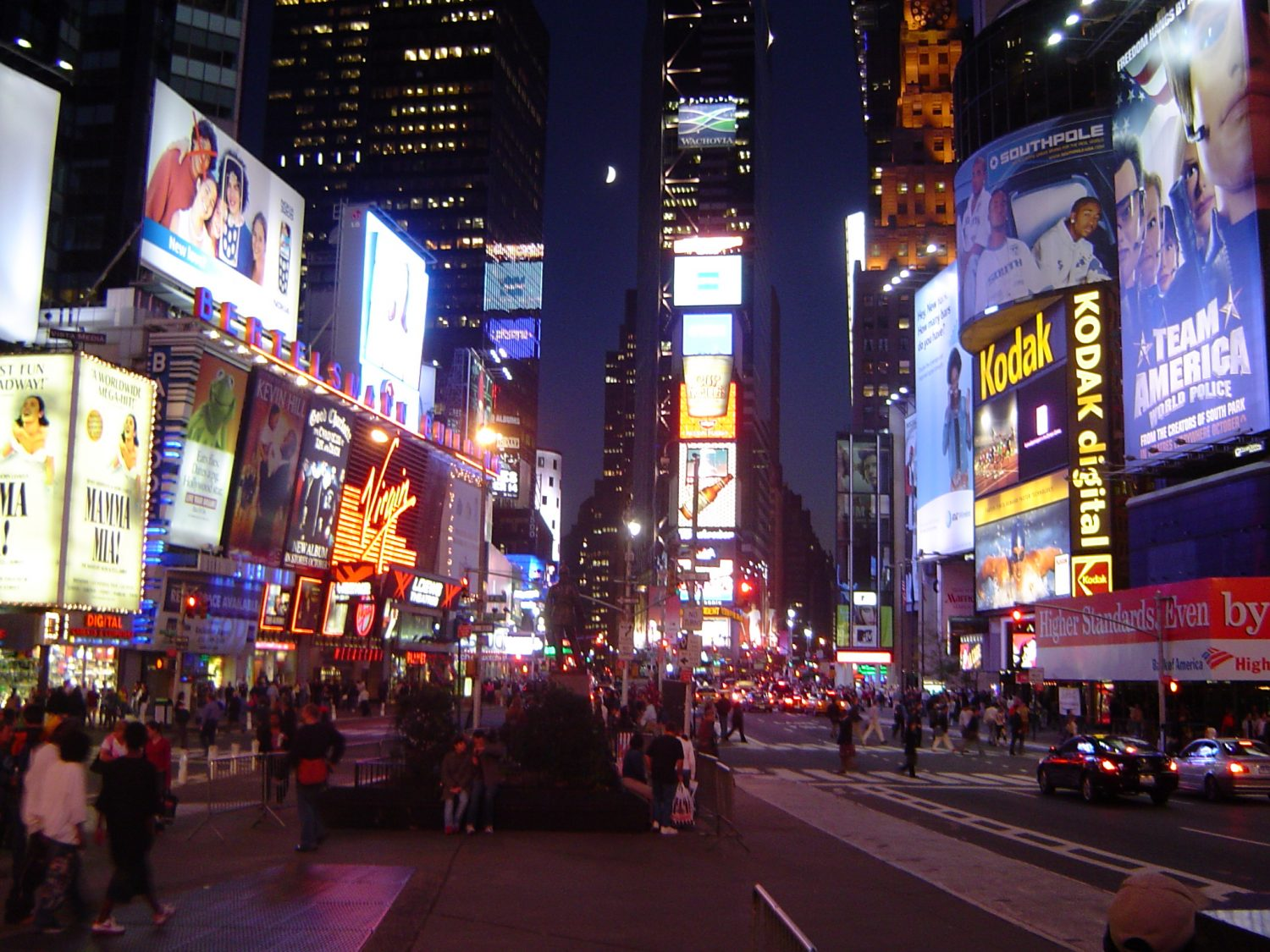 Times Square in New York City at night.