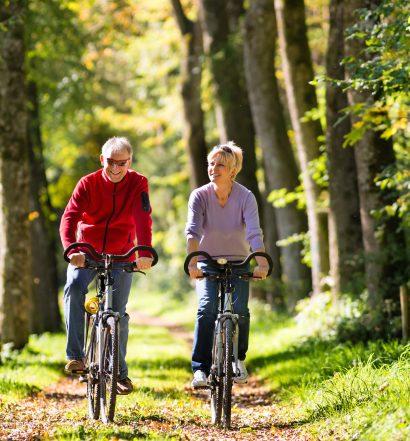 Man and Woman Biking