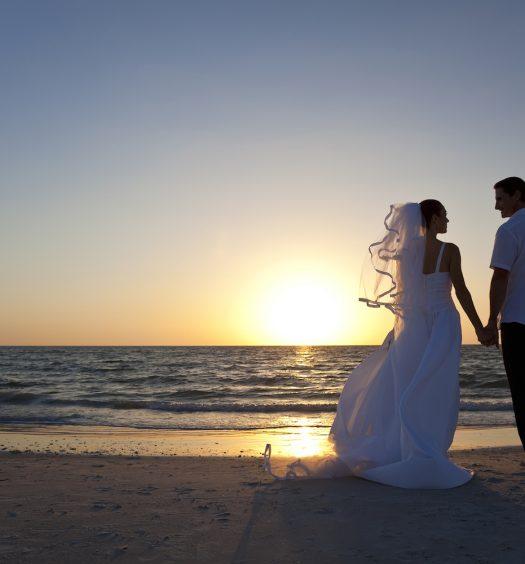 Bride & Groom Sunset Beach Wedding