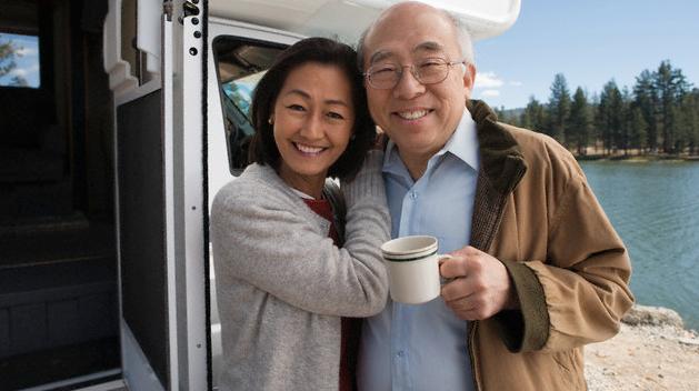 Happy Senior Couple Outside RV