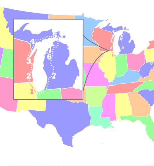 Map of Lake Michigan Itinerary