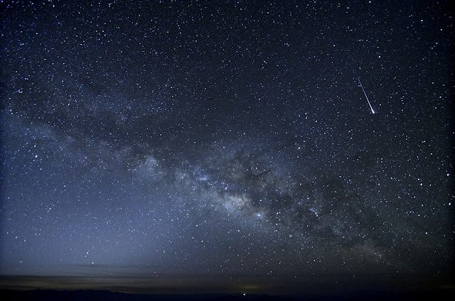Milky Way and Shooting Star Above Mexican Horizon
