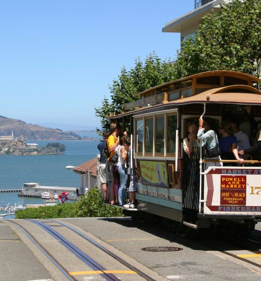 San Francisco Trolley With Alcatraz in the Background