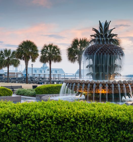 Charleston South Carolina Pineapple Fountain in Historic Waterfront Park