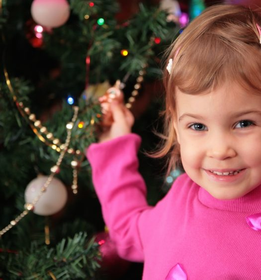 Little Girl And Christmas Tree