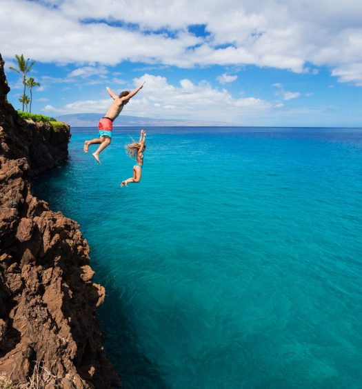 Two Friends Cliff Jumping
