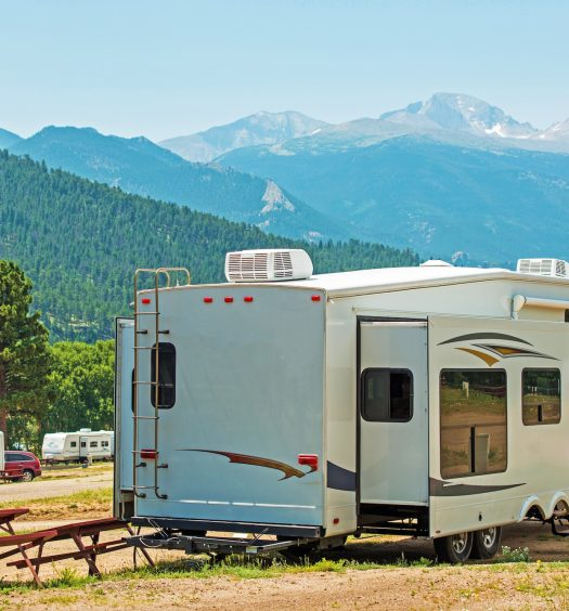 RV at a Campsite With Mountain View