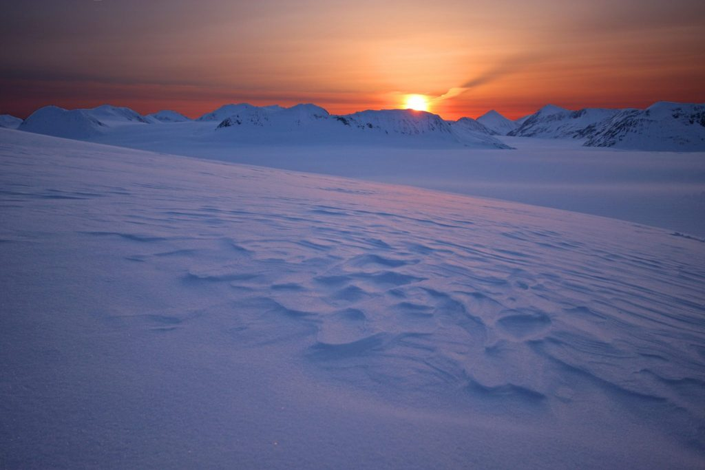 Harding Ice Field at Sunset