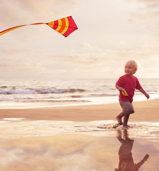 boy flying kite on the beach