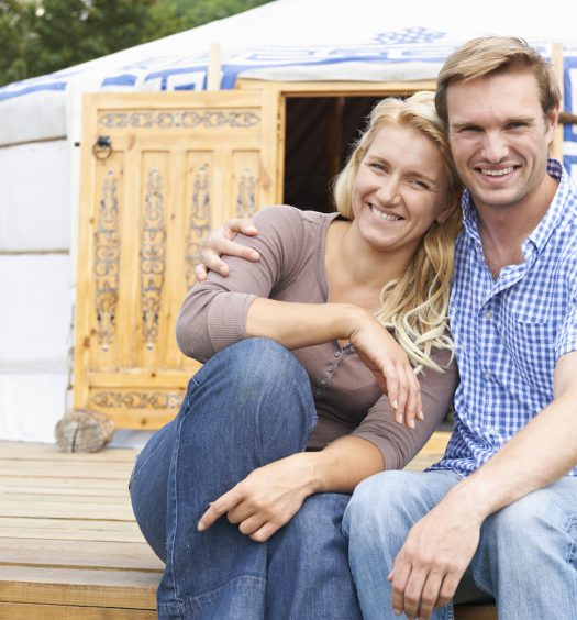 Couple in Front of a Yurt