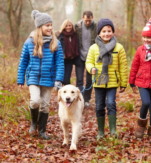 Family with Dog in Woods
