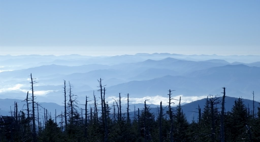 Amazing Smoky Mountains panoramic view from Clingman's Dome
