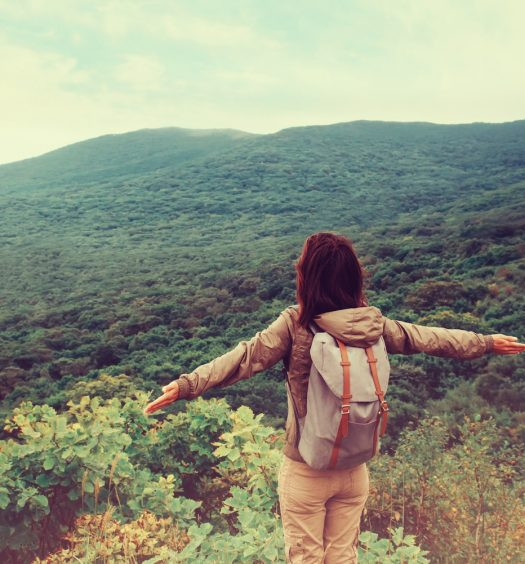 Girl with Backpack Hiking