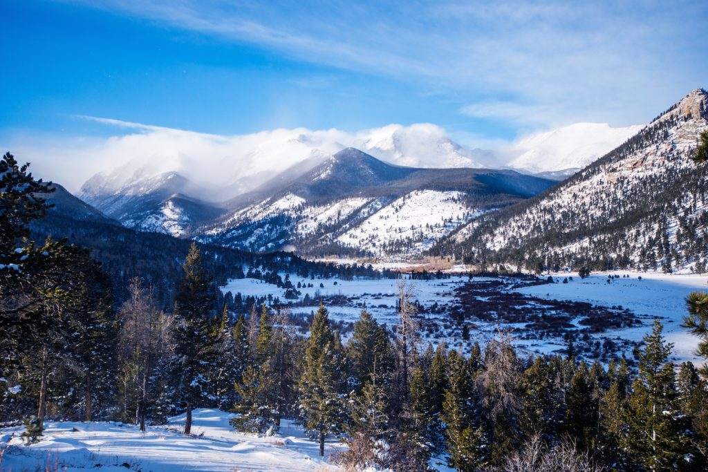 Rocky Mountains in Winter. Rocky Mountain National Park Colorado United States.