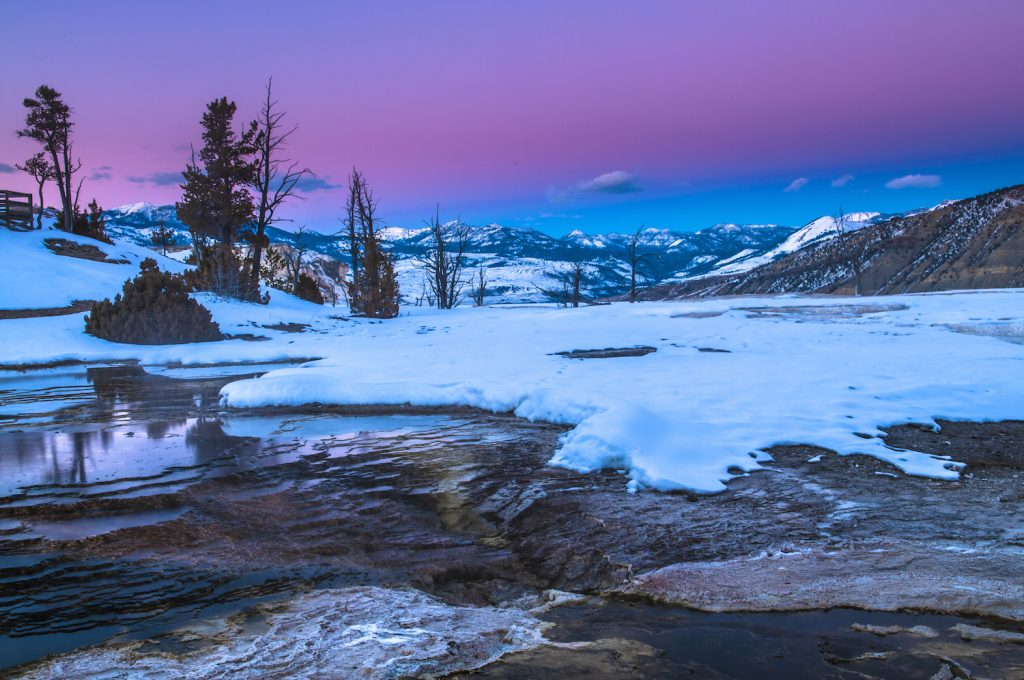 Beautiful Cold Winter Sunset in Yellowstone National Park