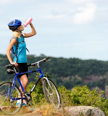 Mountain Biker Hydrating