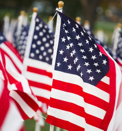 American stars and stripes flags in detail