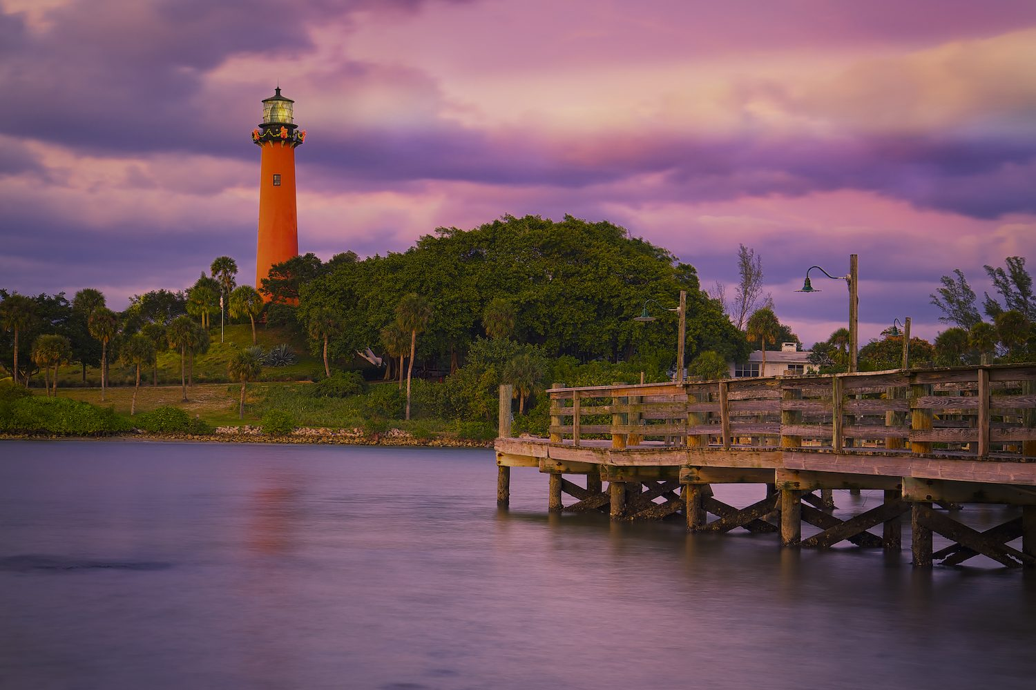 Inlet Lighthouse at Sunset Florida United States