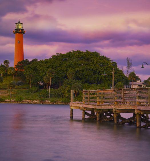 Inlet Lighthouse at Sunset Florida United States