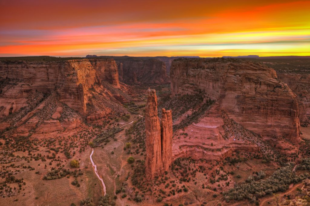 Sunrise at Spider Rock in Canyon de Chelly Arizona.