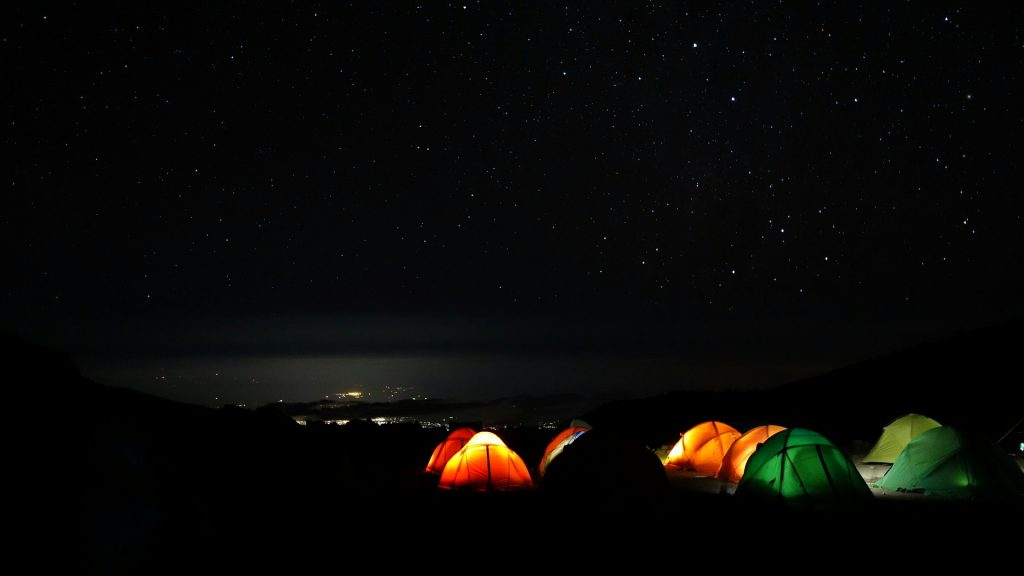 Camping Tents at Night