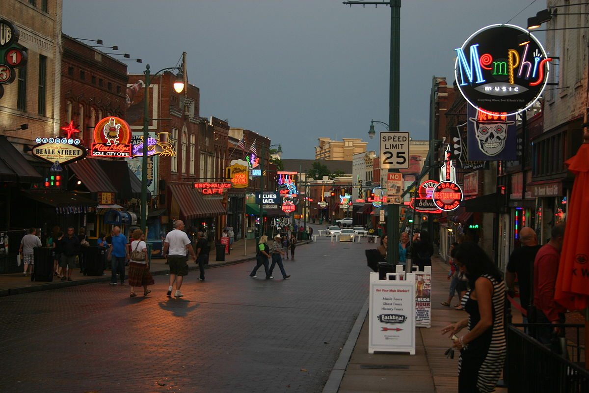 Looking east on Beale Street in Memphis Tennessee