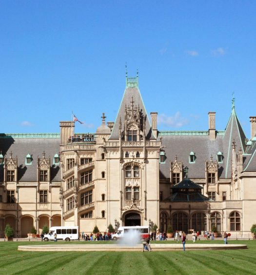 A view of the front of the famous Biltmore Mansion in Asheville, North Carolina.