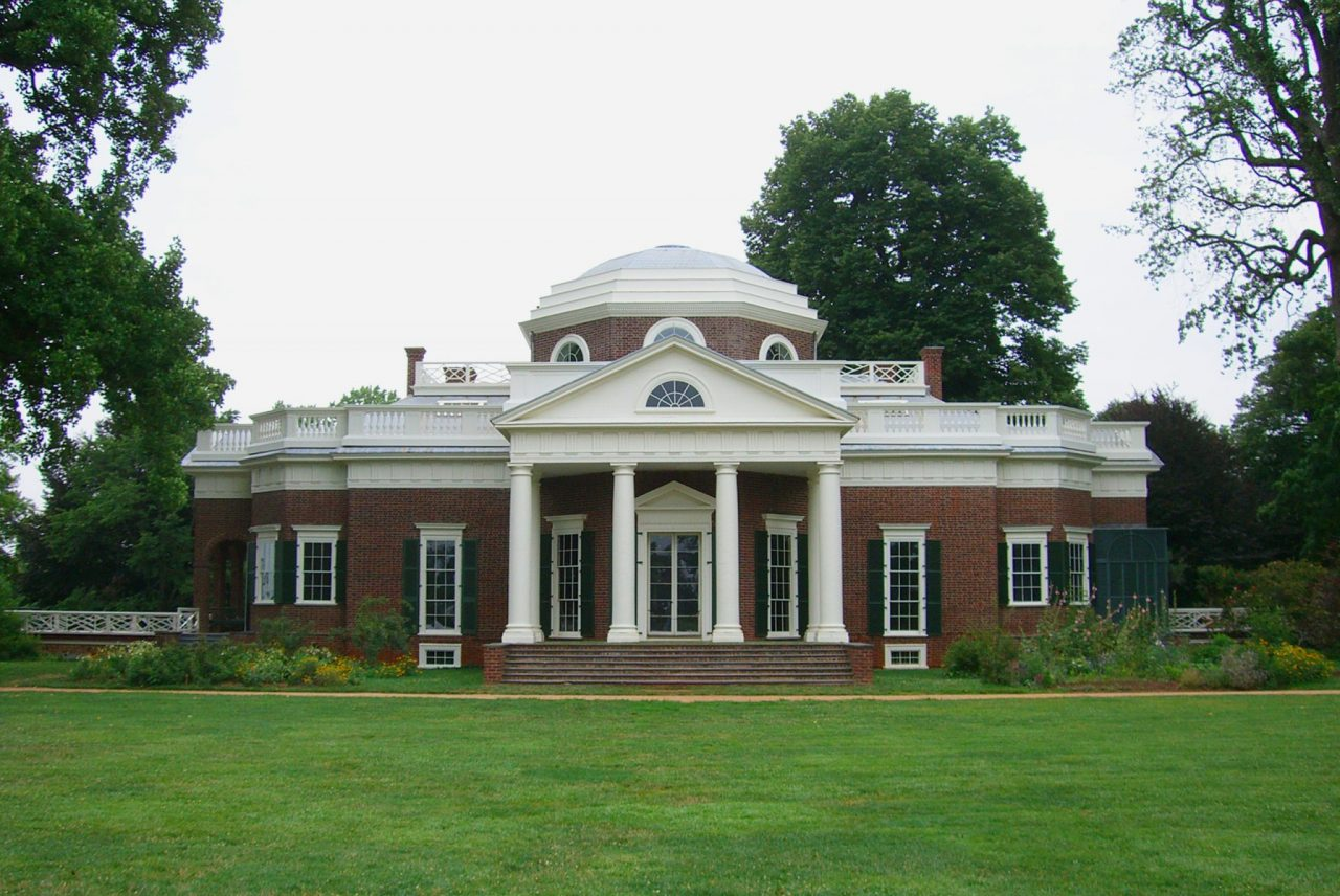 Monticello, historic home of Founding Father Thomas Jefferson in Virginia.
