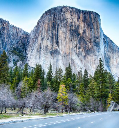 El Capitan as seen from the road in the Yosemite Valley. Yosemite National Park California.