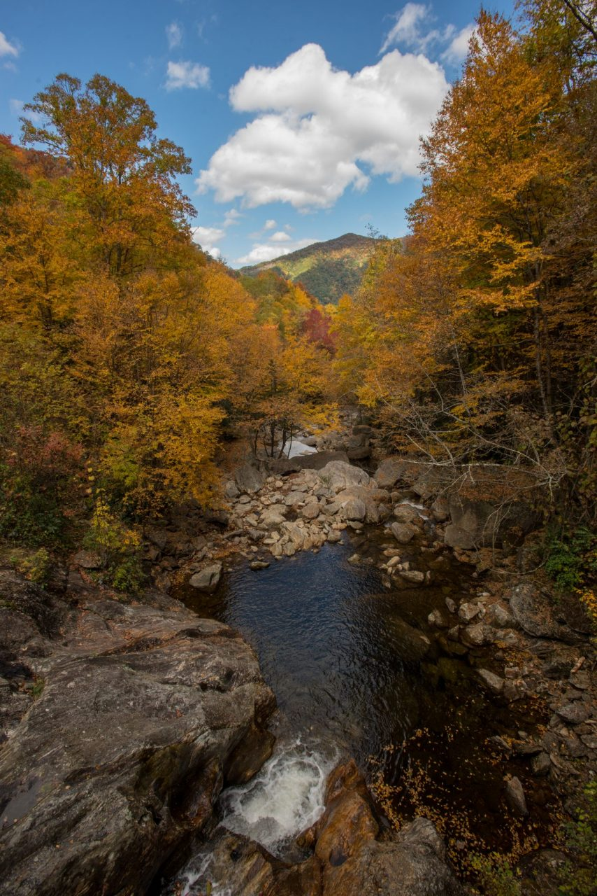 Fall Near the Blue Ridge Parkway looking down over waterfall