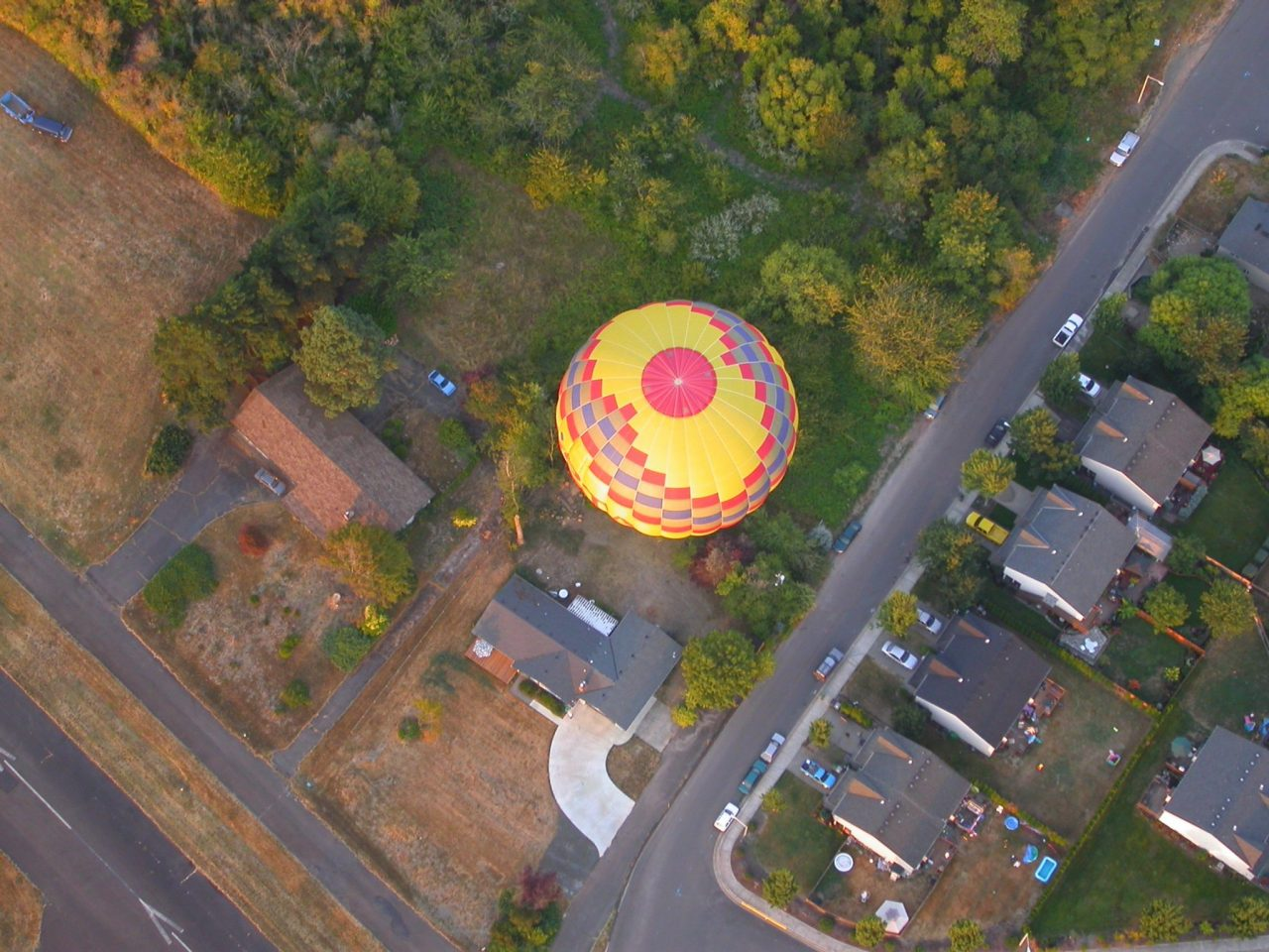 Hot Air Balloon Below in Newberg Oregon