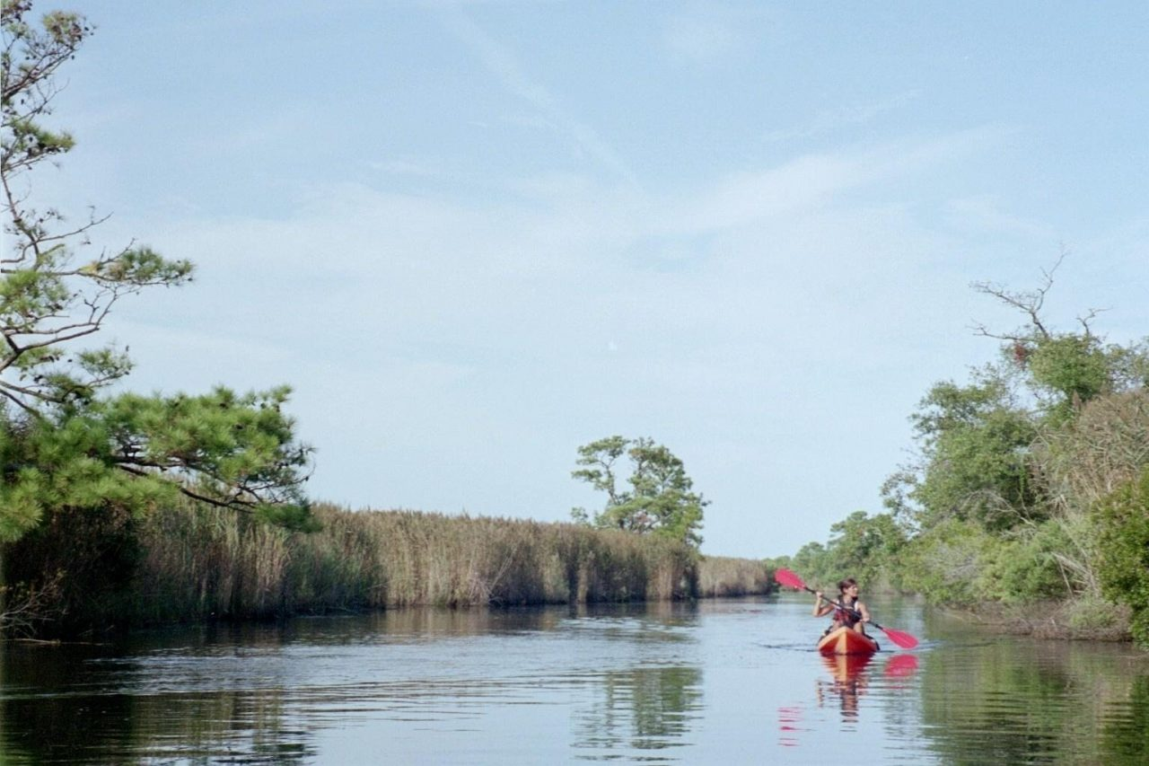kayaking in the back bay national wildlife refuge, located in virginia beach