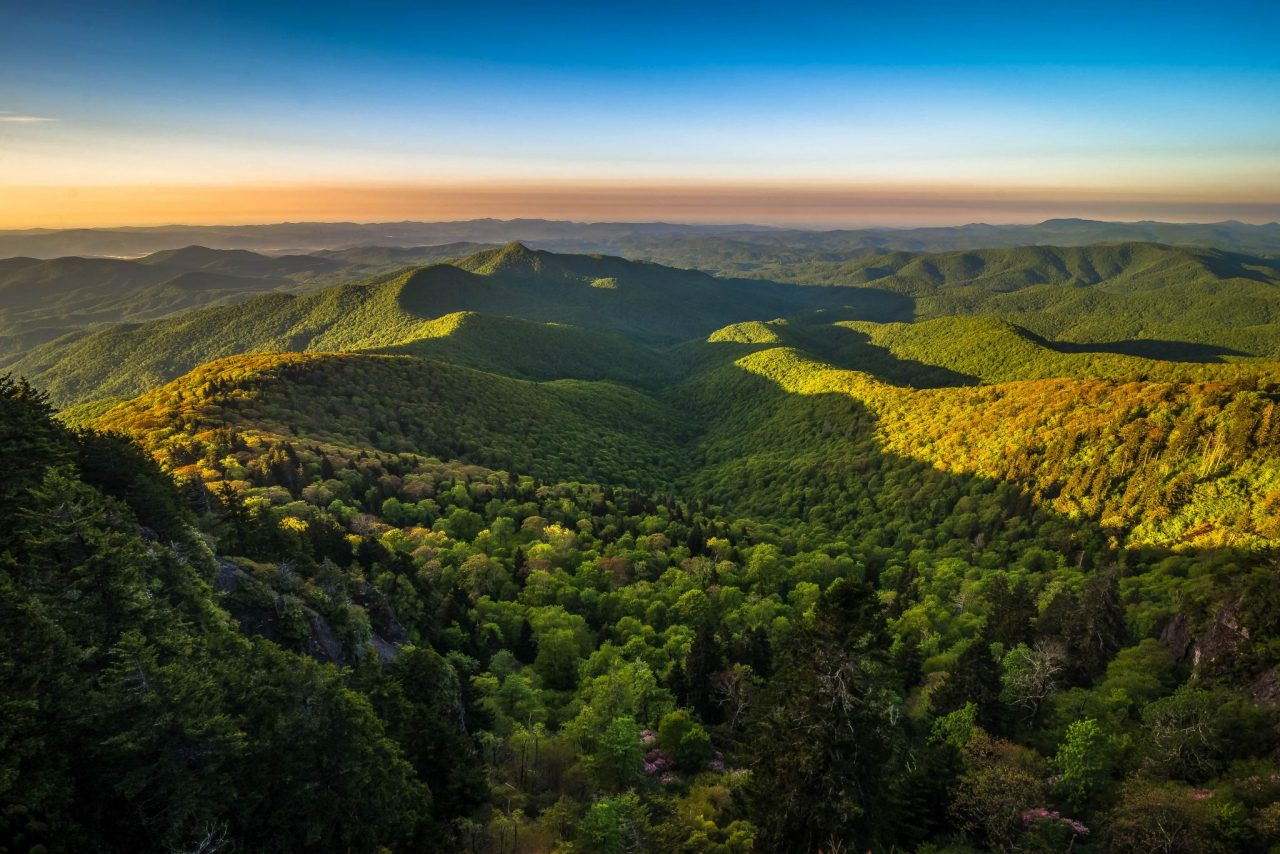 Warm Blue Ridge Mountain Sunrise