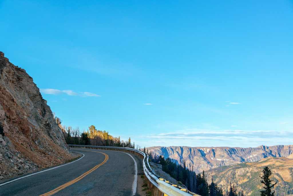 Highway to Yellowstone National Park with the Beartooth Mountains