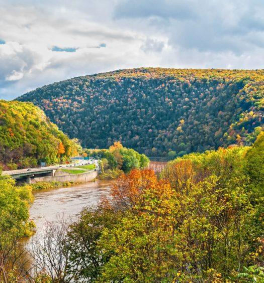 Delaware Water Gap National Recreation Area between New Jersey and Pennsylvania.
