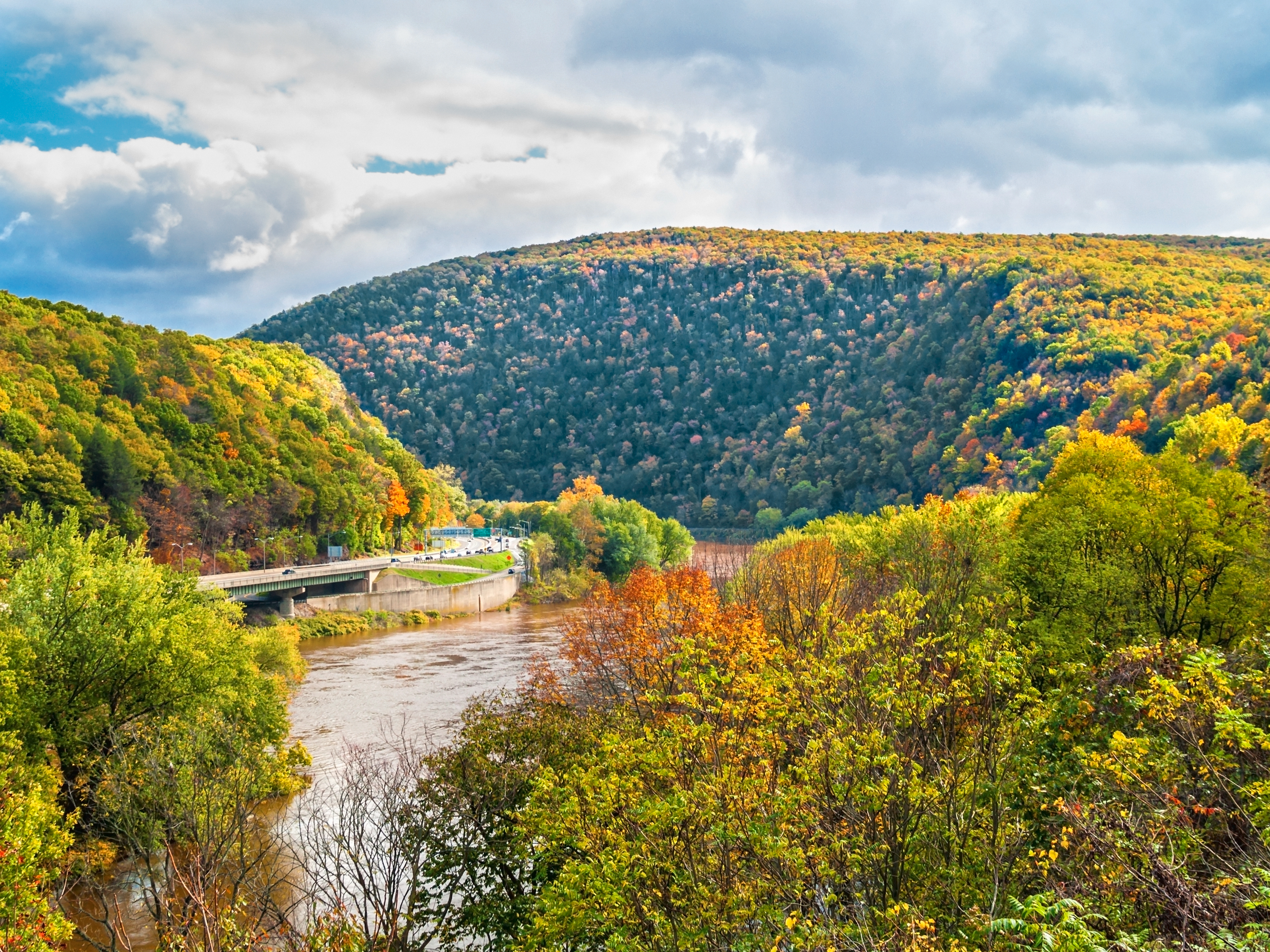Delaware Water Gap National Recreation Area between New Jersey and Pennsylvania.