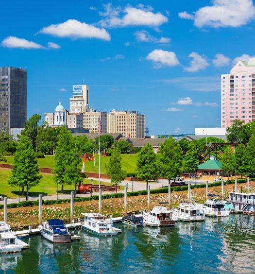 Augusta, Georgia, USA downtown skyline on the Savannah River.