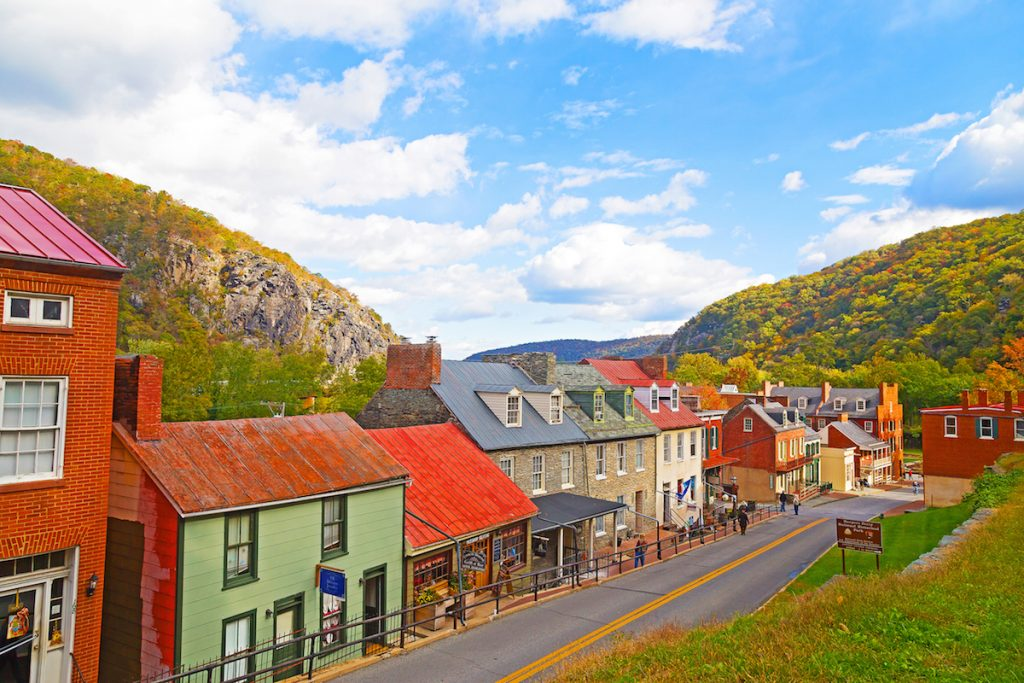 Houses in the historic town of Harpers Ferry, West Virginia