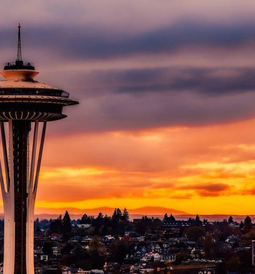 Space needle, historic landmark in Seattle, Washington
