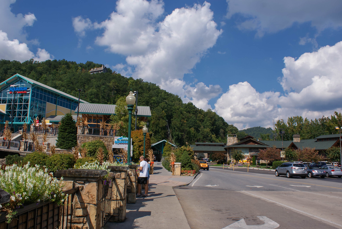 Downtown of the small town of Gatlinburg and Smoky Mountains landscapes around it