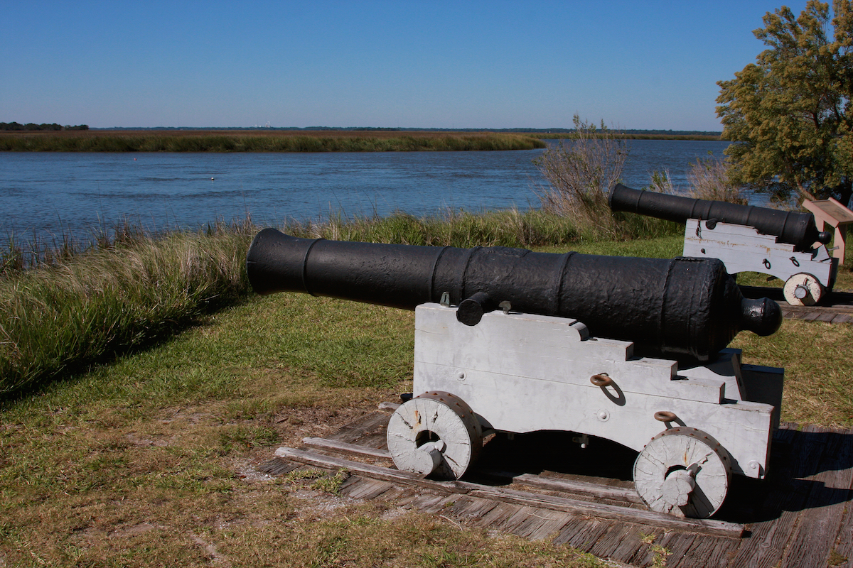 Cannons on Fancy Bluff Creek guard Fort Frederica National