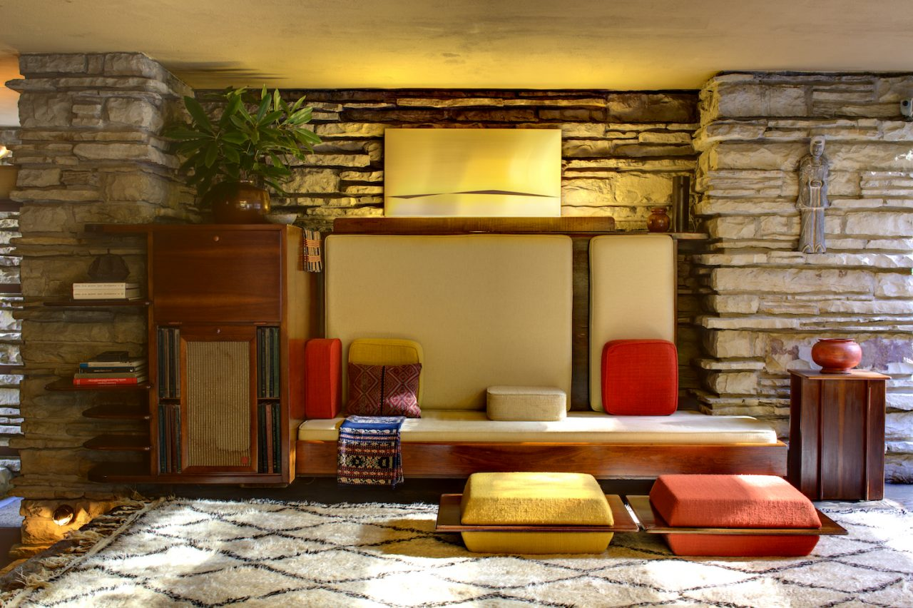 Living room view of Fallingwater