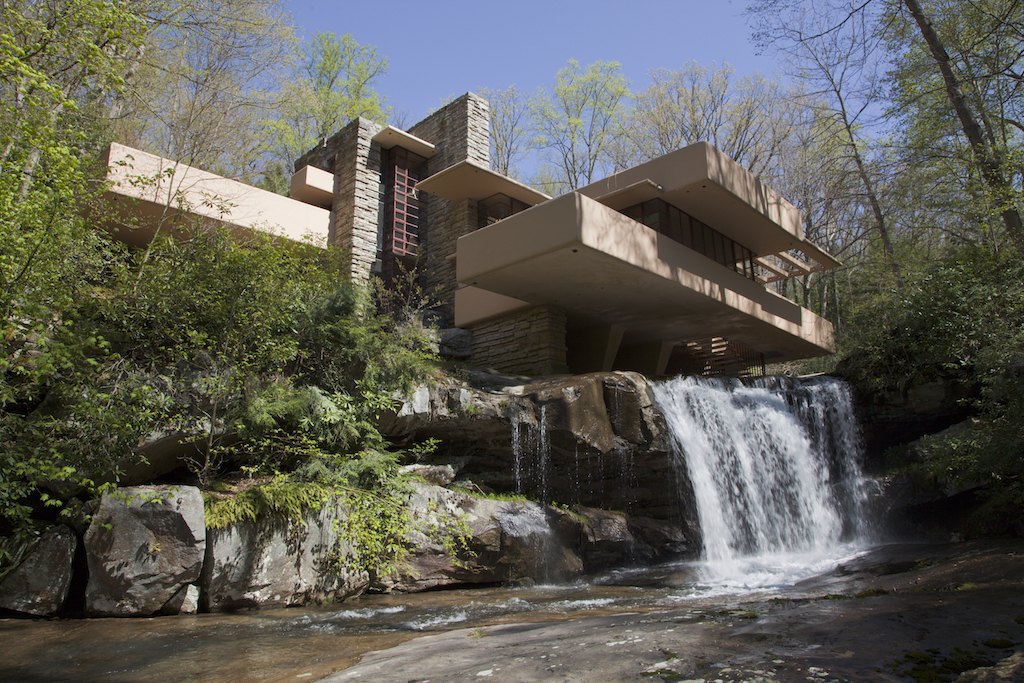 Waterfall view of the Fallingwater home
