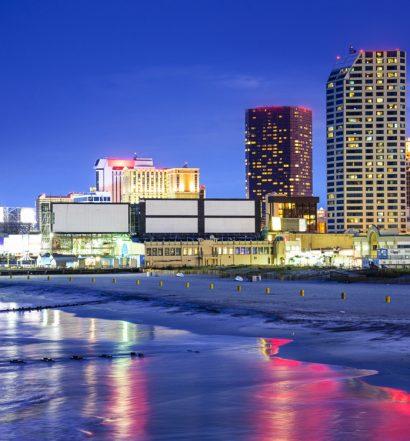 Nighttime scene of Atlantic City, New Jersey